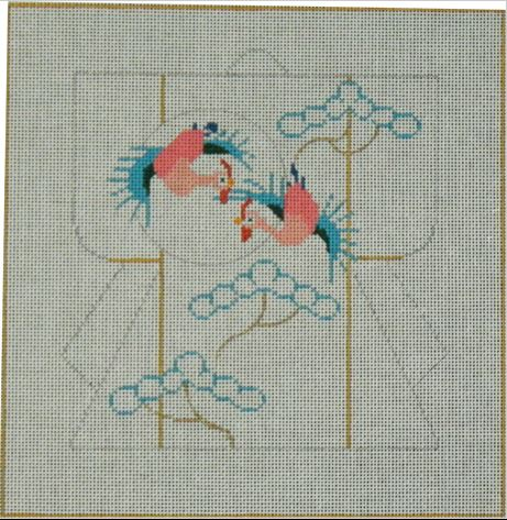 click here to view larger image of Mini Kimono - Cranes (outline) (hand painted canvases)