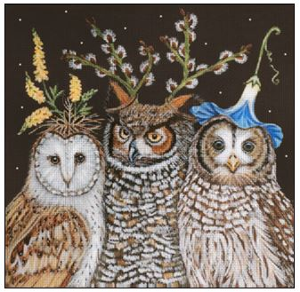 click here to view larger image of Hootenanny Owls (hand painted canvases)