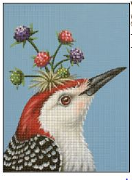 click here to view larger image of Woodpecker with Berry Crown (hand painted canvases)