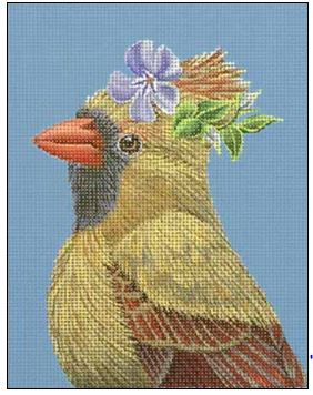 click here to view larger image of Cardinal with Myrtle (hand painted canvases)