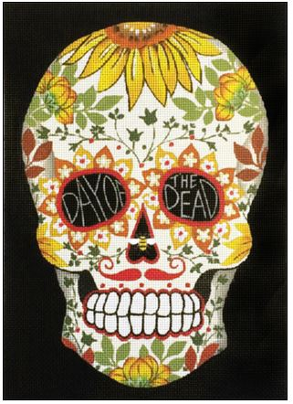 click here to view larger image of White Day Of The Dead Sunflower Skull (hand painted canvases)