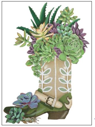 click here to view larger image of Succulent Boot (hand painted canvases)