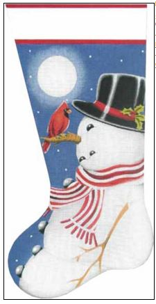 click here to view larger image of Snowman and Cardinal Sock (hand painted canvases)