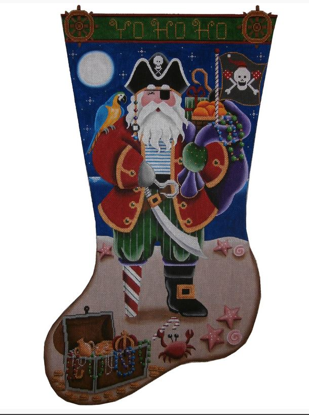 click here to view larger image of Pirate / Captain Clause Stocking - 18ct (hand painted canvases)