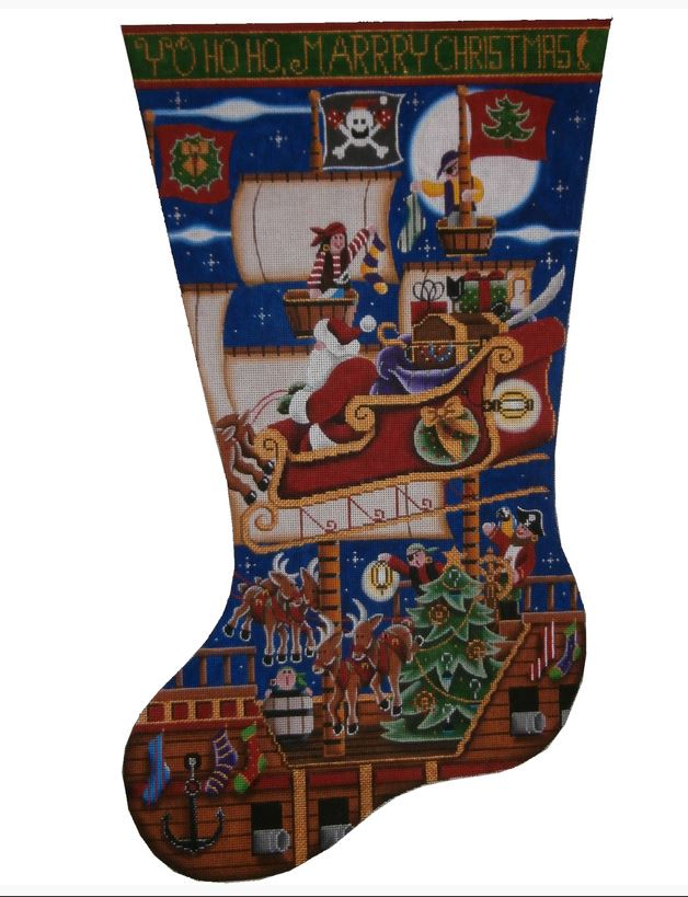 click here to view larger image of Pirate Ship Stocking - 18ct (hand painted canvases)
