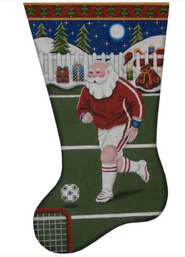 click here to view larger image of Soccer Santa Stocking - 13ct (hand painted canvases)