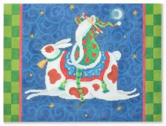 click here to view larger image of Santa Riding Rabbit (hand painted canvases)