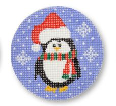 click here to view larger image of Penguin w/Santa Cap (hand painted canvases)