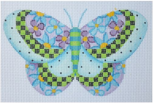 click here to view larger image of Butterfly/Blue with Purple & Pink Flowers (hand painted canvases)