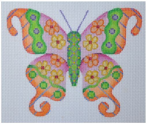 click here to view larger image of Butterfly Yellow with Orange Flowers (hand painted canvases)
