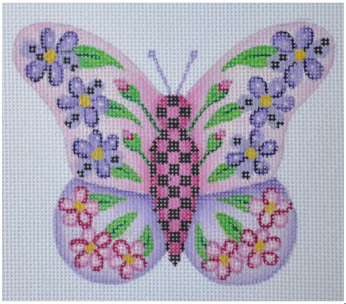 click here to view larger image of Butterfly Pink with Purple Flowers (hand painted canvases)