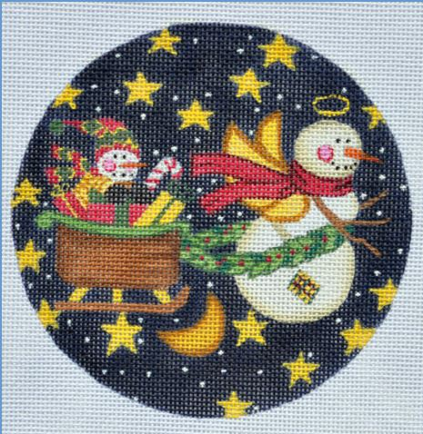 click here to view larger image of Flying Snowman Ornament (hand painted canvases)