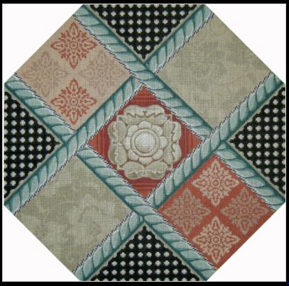 click here to view larger image of Damask Patchwork (hand painted canvases)