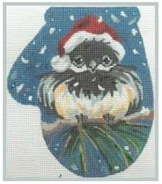 click here to view larger image of Chickadee in a Santa Hat Mit (hand painted canvases)
