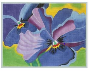 click here to view larger image of Blue Pansies  (hand painted canvases)