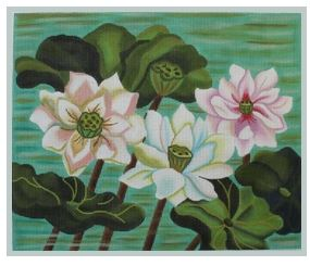 click here to view larger image of Pastel Lotus Pond (hand painted canvases)