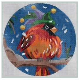 click here to view larger image of Cardinal in a Carnival Hat (hand painted canvases)