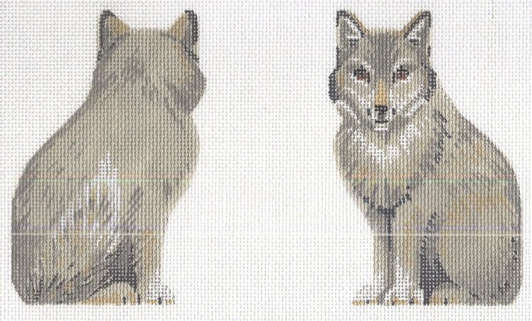 click here to view larger image of Gray Wolf Clip On Ornament (hand painted canvases)