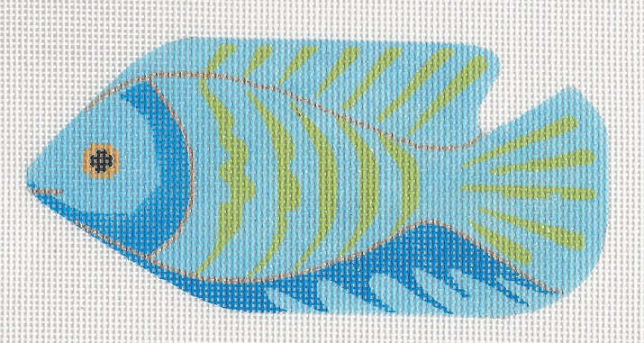 click here to view larger image of Blue with Green Stripe Fish (hand painted canvases)