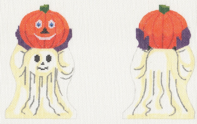 click here to view larger image of Ghost With Pumpkin (hand painted canvases)