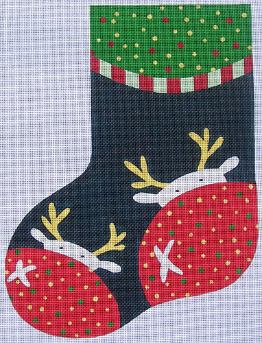 click here to view larger image of Reindeer Stocking (hand painted canvases)