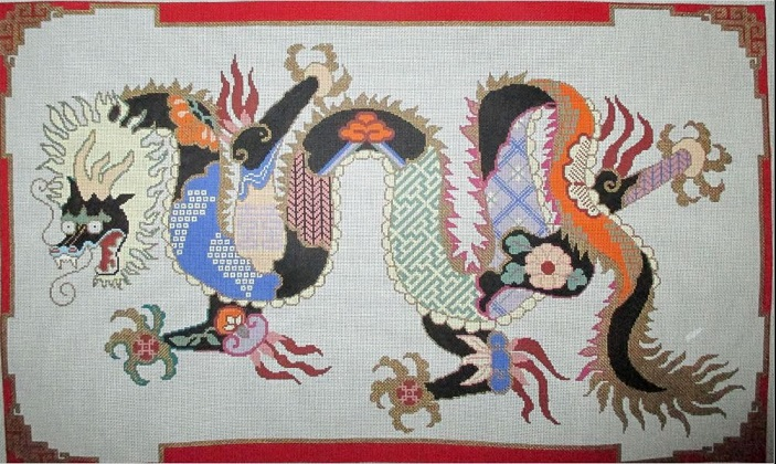 click here to view larger image of Cloissone Dragon (hand painted canvases)