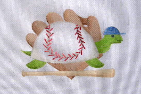 click here to view larger image of September - Baseball Turtle (hand painted canvases)