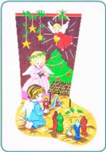 click here to view larger image of Christmas Nativity Stocking (hand painted canvases)