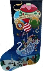 click here to view larger image of Merry Christmas Stocking (hand painted canvases)