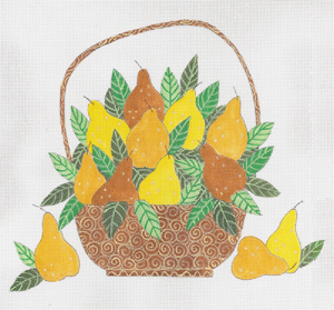 click here to view larger image of Basket of Pears (hand painted canvases)