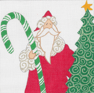 click here to view larger image of Candy Cane Santa Square (hand painted canvases)