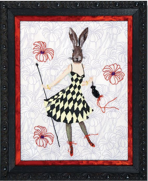 click here to view larger image of Rabbit In Dress (hand painted canvases)
