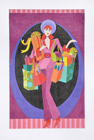 click here to view larger image of Holiday Shopper Purple (hand painted canvases)