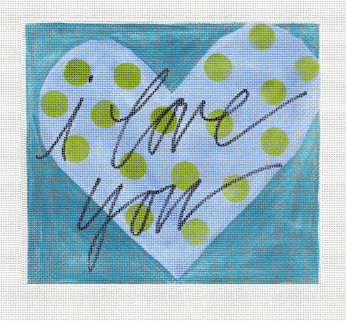 click here to view larger image of Blue I Love You (hand painted canvases)