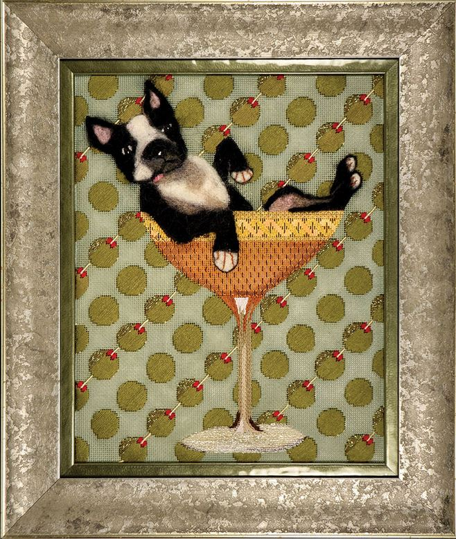 click here to view larger image of Boston Terrier Cocktail (hand painted canvases)