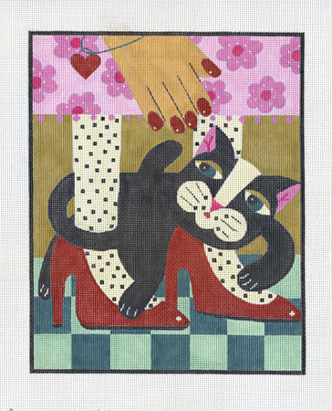 click here to view larger image of Black Cat Red Shoes (hand painted canvases)
