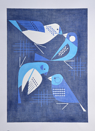 click here to view larger image of Bye Blue Finches - 13ct (hand painted canvases)