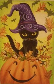 click here to view larger image of Pumpkin Kitty (hand painted canvases)
