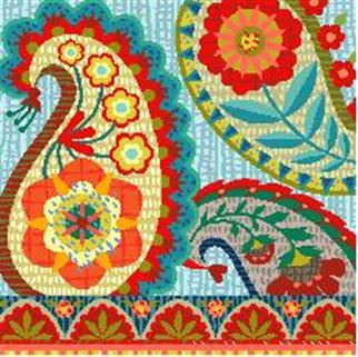 click here to view larger image of Bohemian Paisley (hand painted canvases)