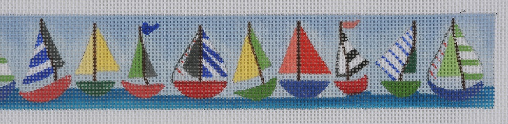 click here to view larger image of Sailboats Belt (hand painted canvases)