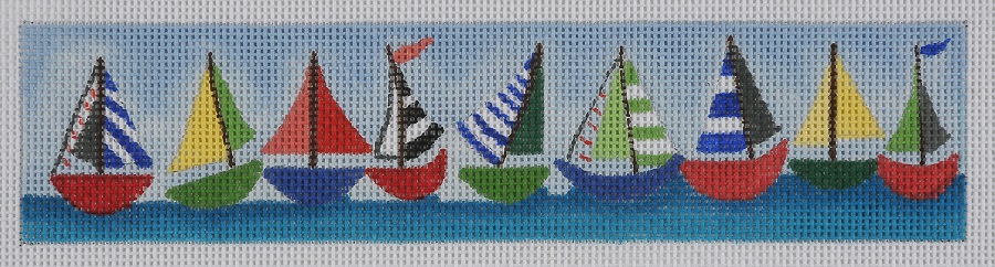click here to view larger image of Sailboats Key Fob (hand painted canvases)