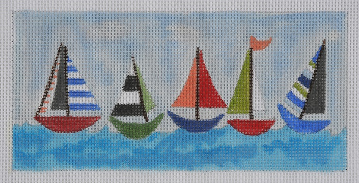 click here to view larger image of Sailboat Wallet / Checkbook Cover (hand painted canvases)