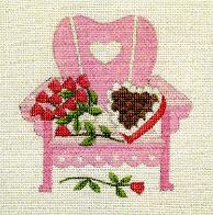 click here to view larger image of Hearts and Flowers - Adirondack Chairs Of The Month (hand painted canvases)