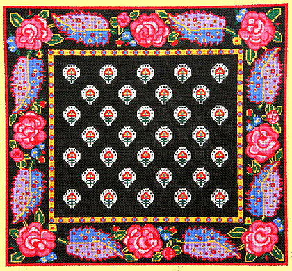 click here to view larger image of La Petite Fleur /Black w/Rose Border (hand painted canvases)