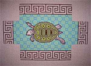click here to view larger image of Blue Tortoise Brickcover (hand painted canvases)