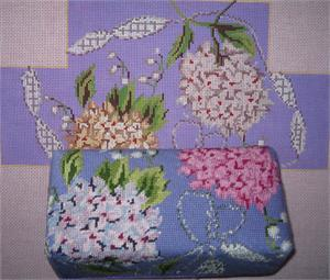 click here to view larger image of Hydrangeas and Ribbon Brick Cover (hand painted canvases)