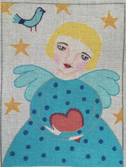 click here to view larger image of Folk Art Angel Heart (hand painted canvases)