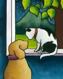 click here to view larger image of Cat and Dog (hand painted canvases)