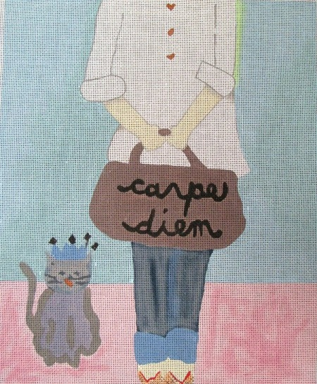 click here to view larger image of Carpe Diem Girl and Cat (hand painted canvases)