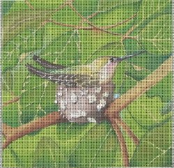 click here to view larger image of Hummingbird In Nest (hand painted canvases)